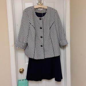 DANILLO 2-Pc Navy/White Polka Dot Jacket/Skirt